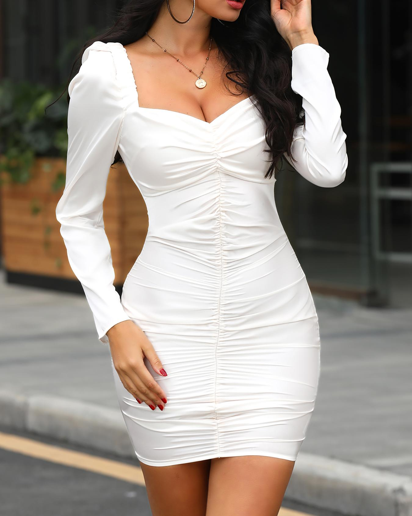 joyshoetique / Square Neck Ruched Design Bodycon Dress