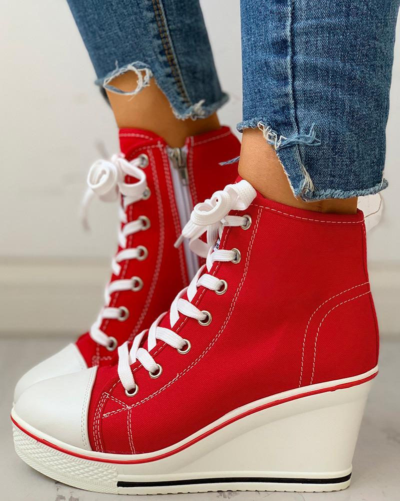 Eyelet Lace-Up Platform Wedge Sneakers, Red