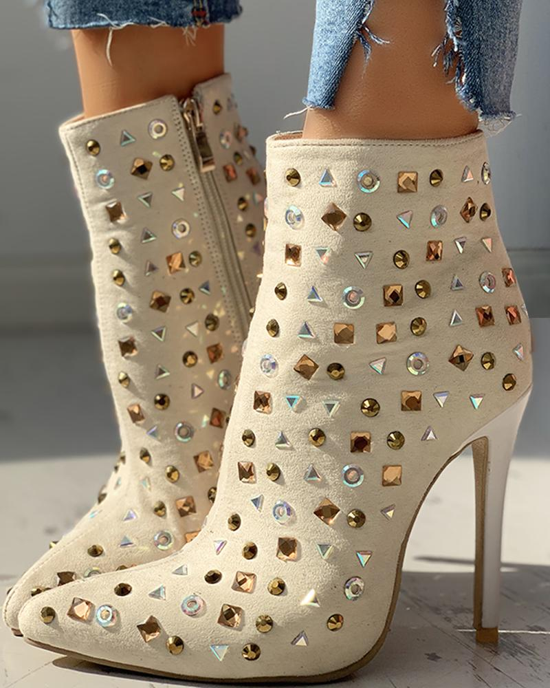 Suede Studded Pointed Toe Thin Heeled Boots