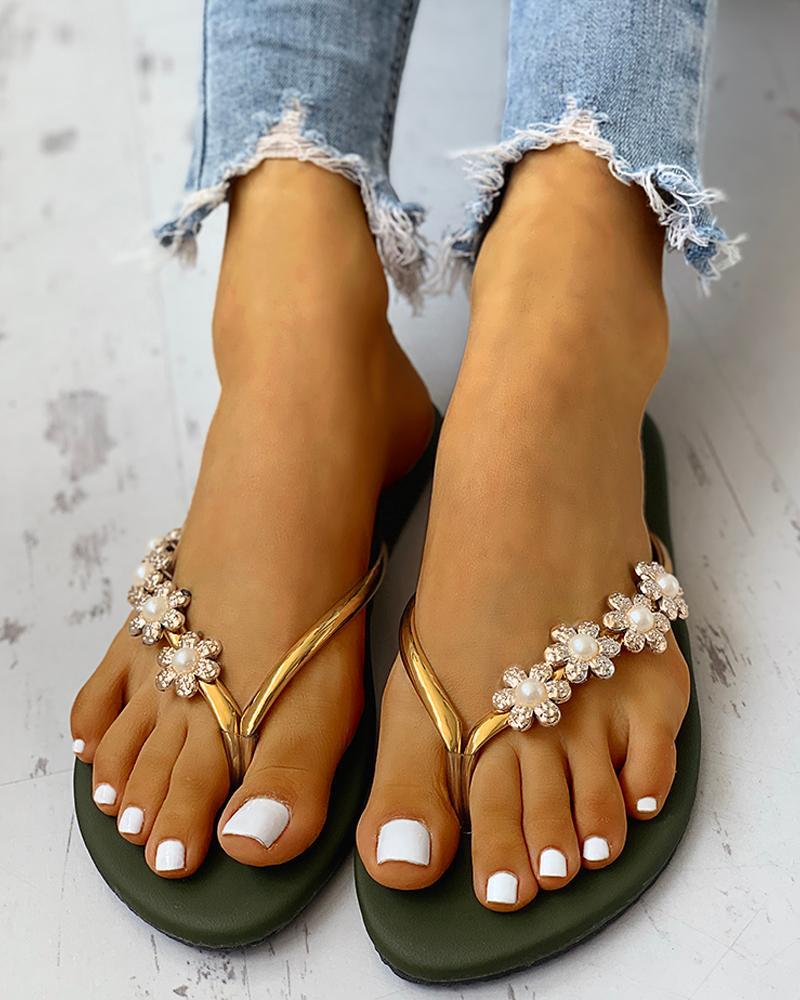 Flower Embellished Toe Flat Sandals