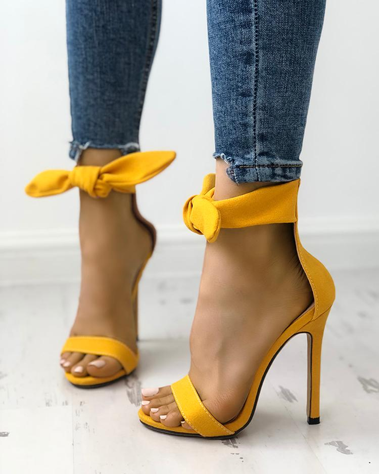 chicme / Peep Toe Thick Strap Ankle Tie Stiletto Sandals