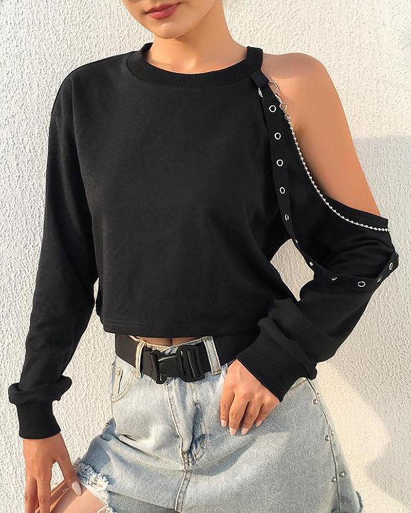 One Shoulder Long Sleeve T-Shirt фото