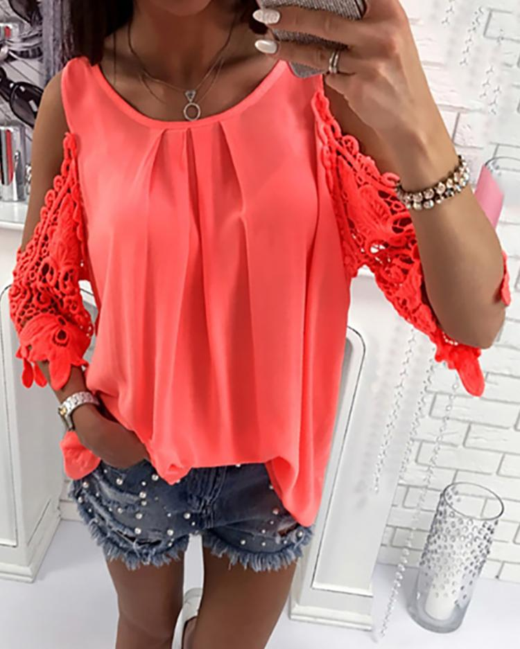 chicme / Lace Crochet Cold Shoulder Pleated Blouse