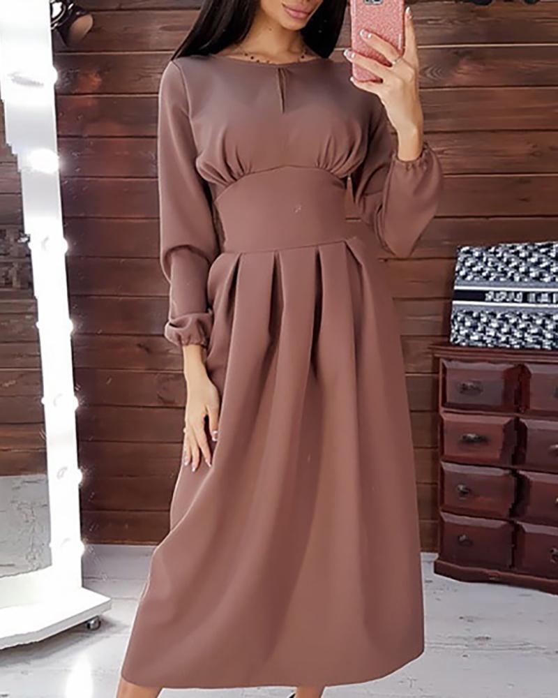 Solid Tight Waist Casual Midi Dress фото