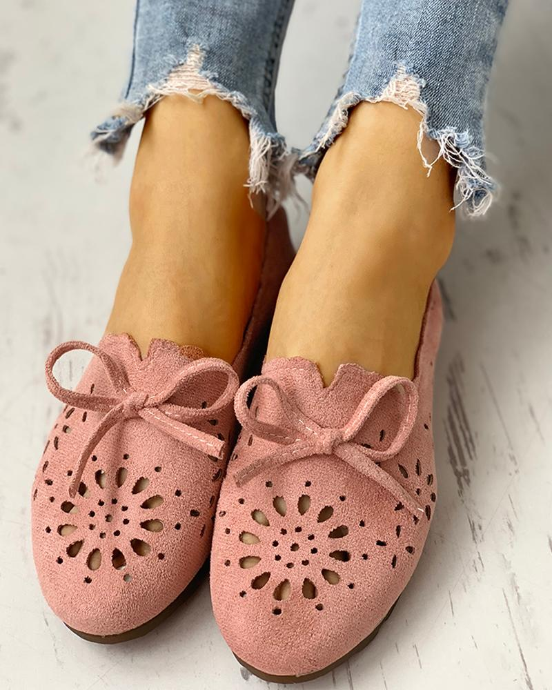 chicme / Bowknot Hollow Out Casual Flat Shoes