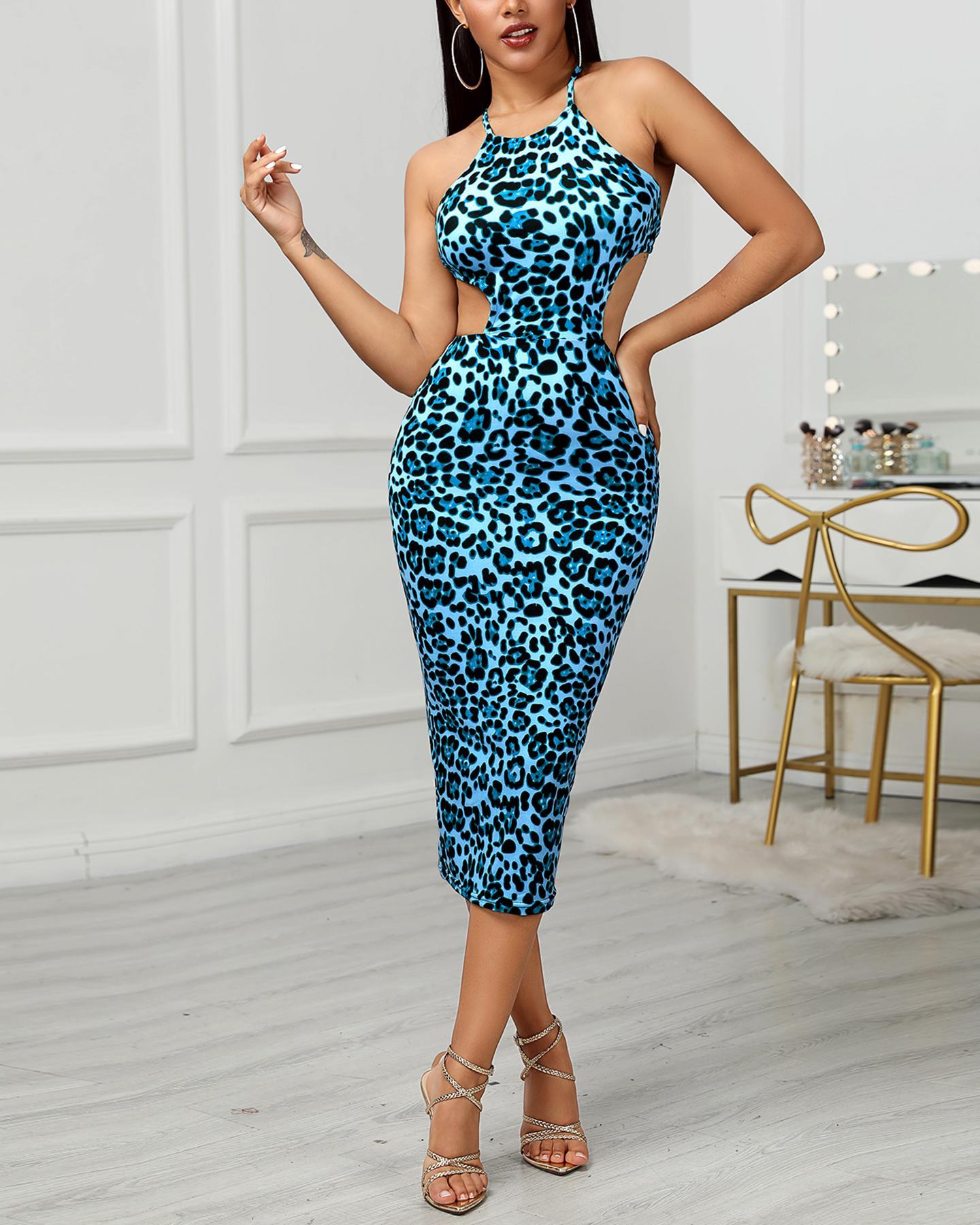 ivrose / Halter Cut Out Waist Leopard Bodycon Dress