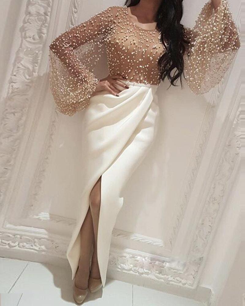 boutiquefeel / Vestido frisado de fenda de retalhos de malha embelezada