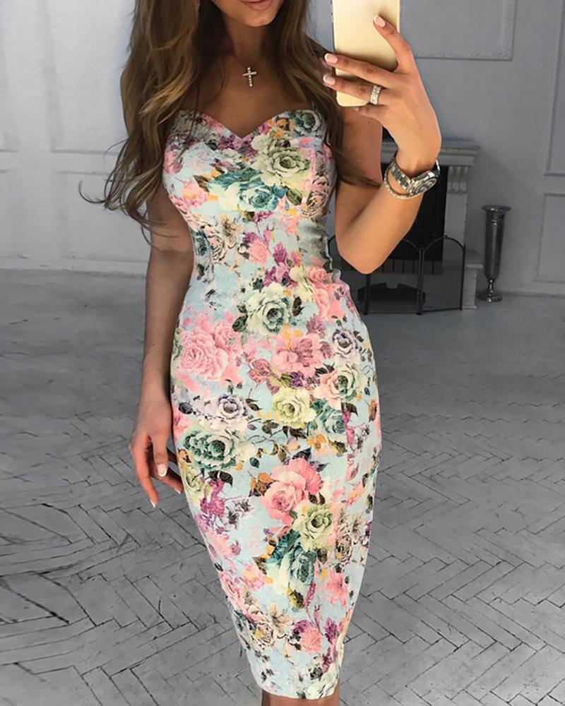 Floral Print Crisscross Strap Midi Dress фото