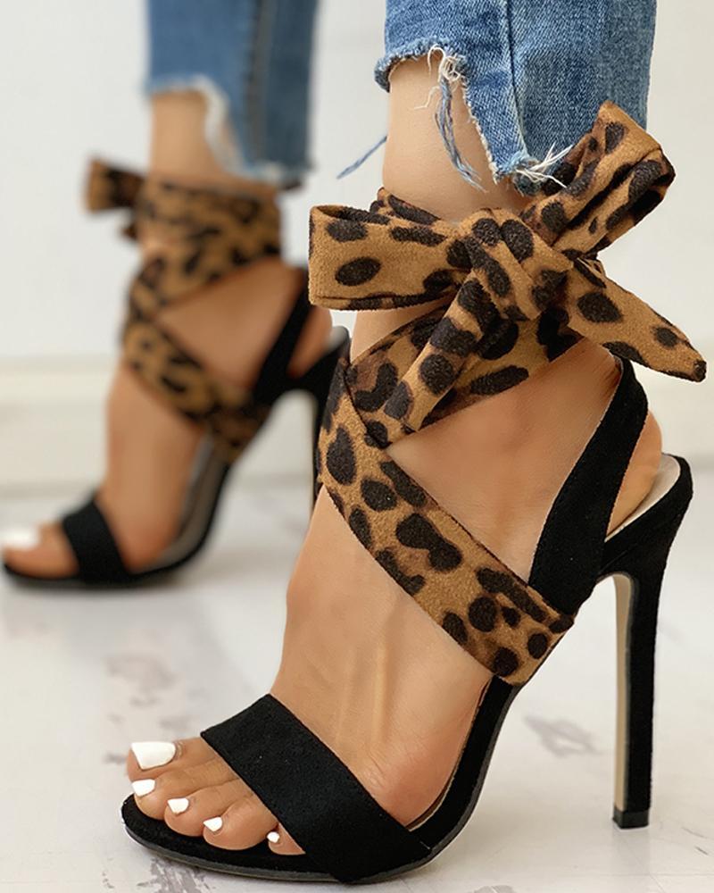 chicme / Leopard Suede Peep Toe Thin Heels