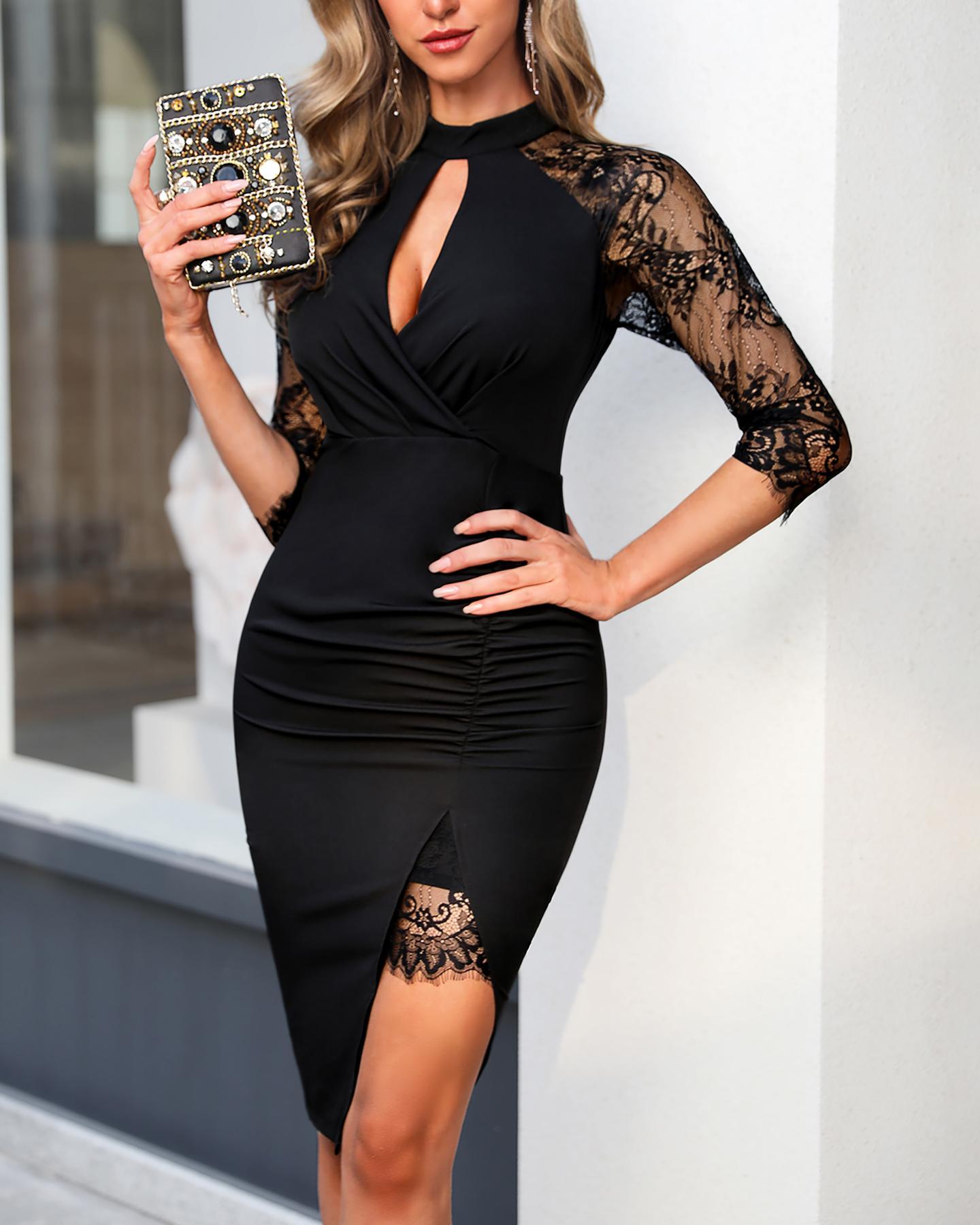 Eyelash Lace Cutout Dress фото