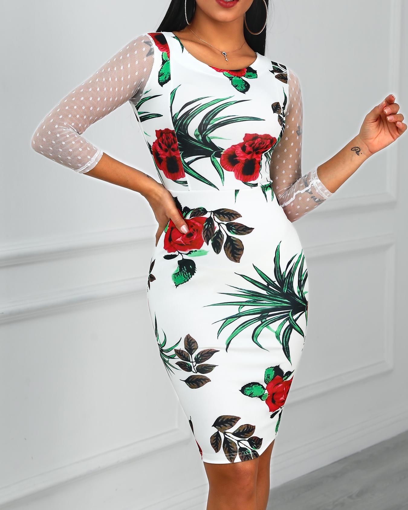Floral Print Mesh Insert Dress