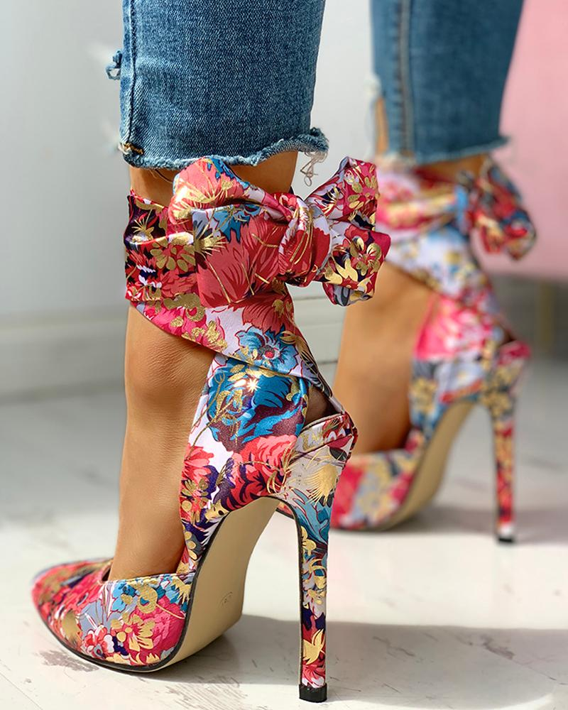 Floral Print Tied Ankle Thin Heels фото