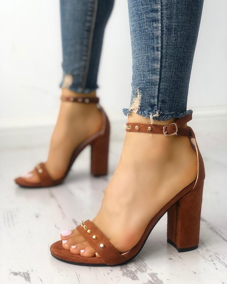 Rivet Embellished Single Strap Chunky Sandals