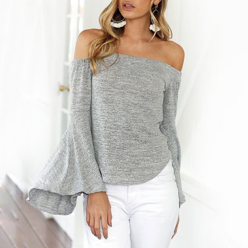 chicme / Trendy Off Shoulder Flare Sleeve Casual Blouse