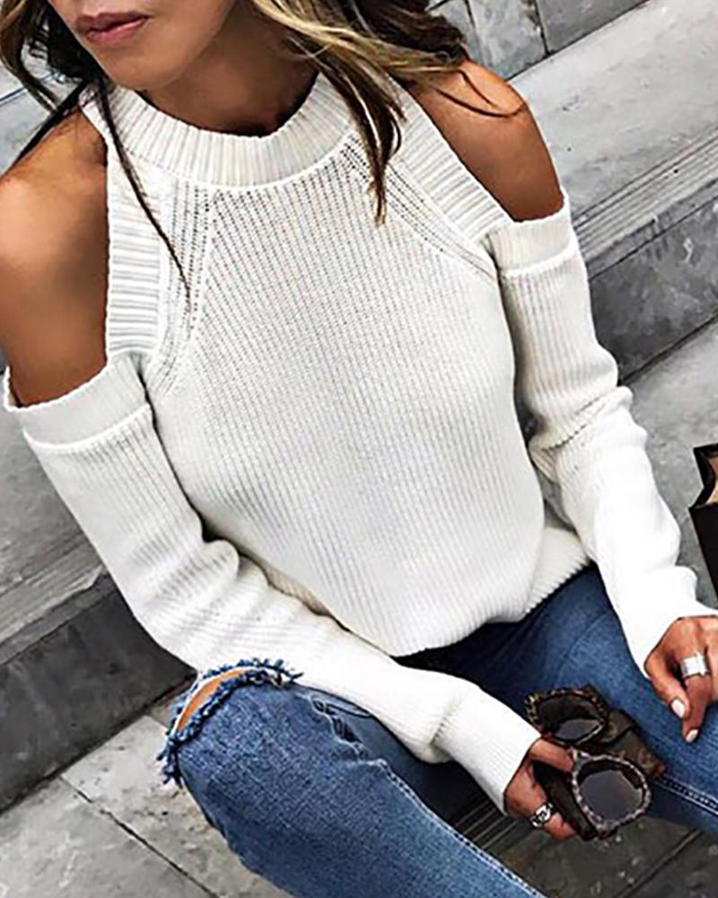 Off White Cold Shoulder Sweater фото