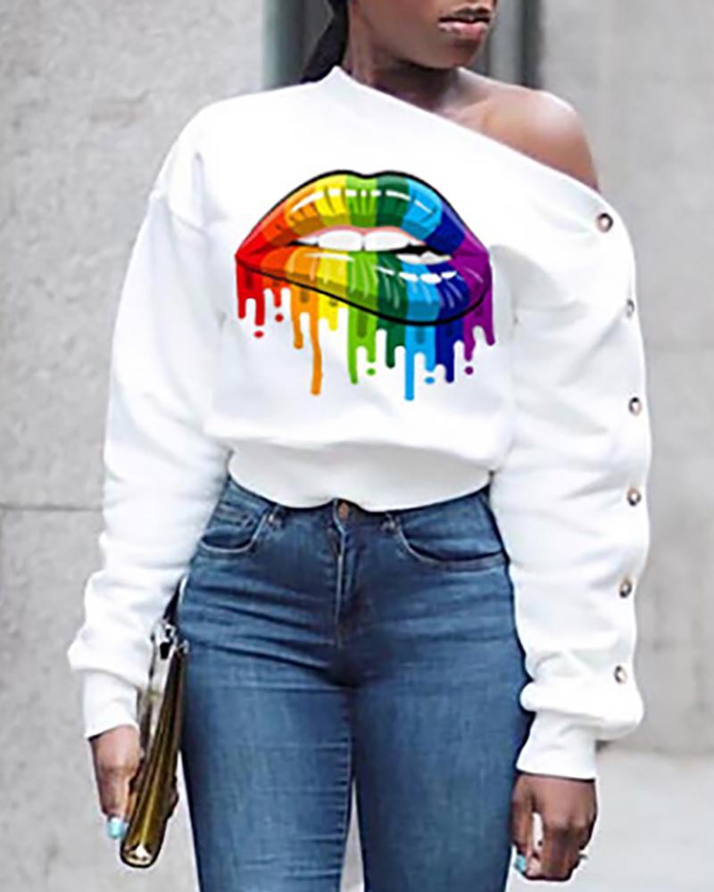 Skew Neck Mouth Print Long Sleeve Buttoned Sweatshirt фото