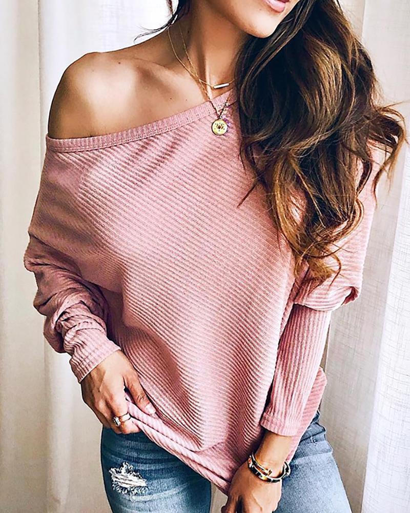 Solid Long Sleeve Batwing Sleeve Top фото