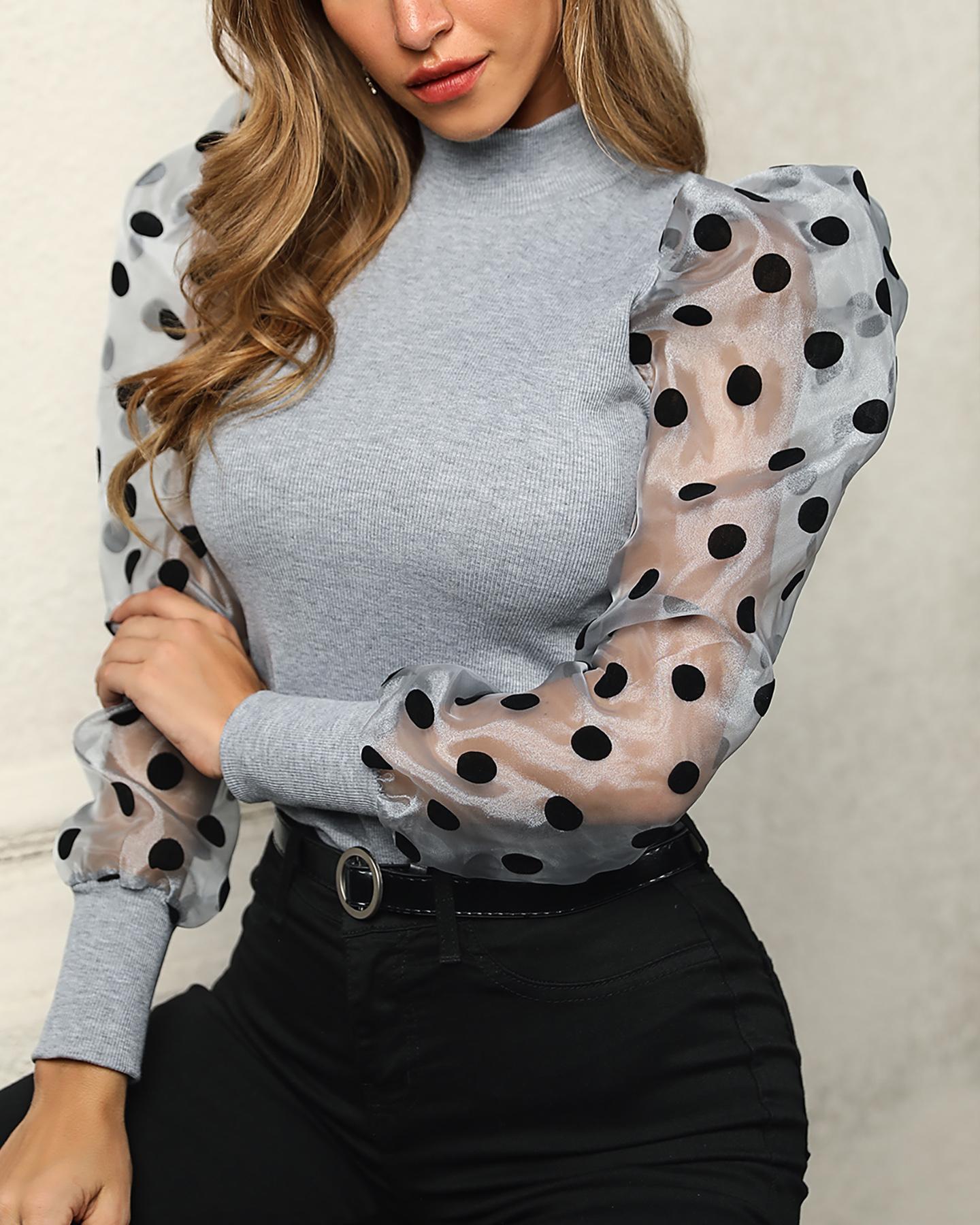 Mesh Dot Puffed Sleeve Top фото