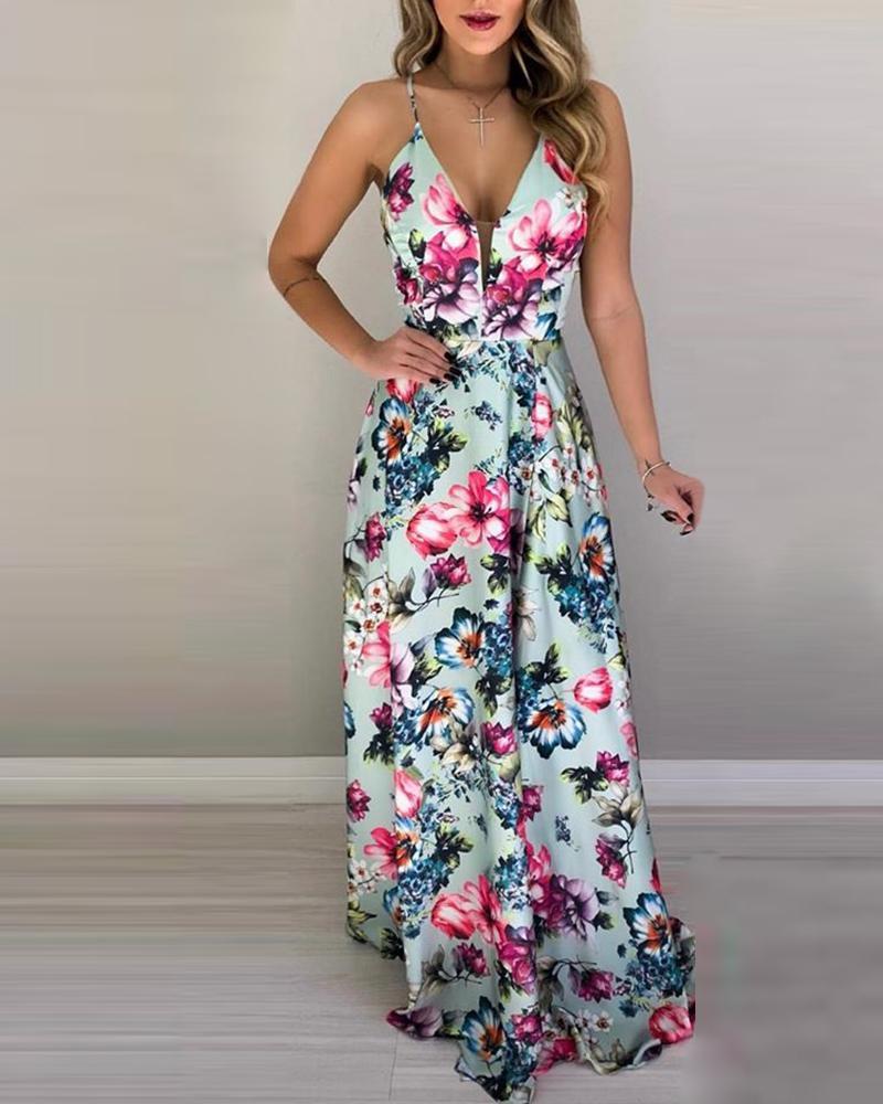chicme / Floral Print Spaghetti Strap Maxi Dress