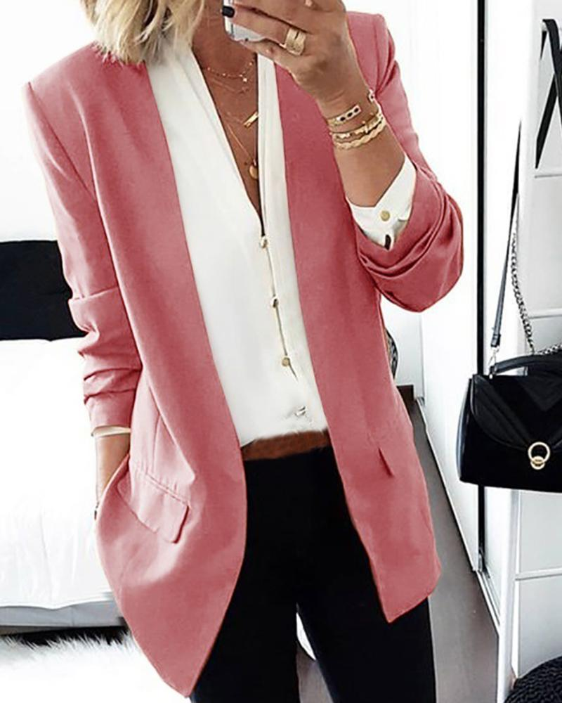 Solid Long Sleeve Pocket Design Blazer Coat фото