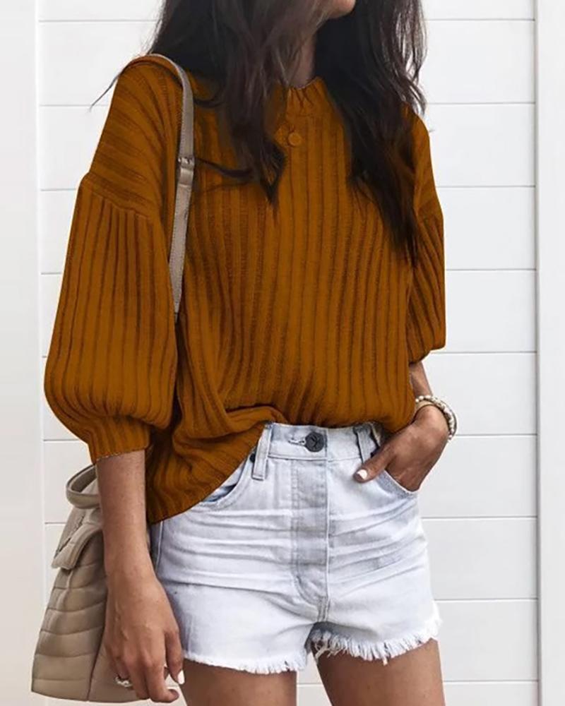 chicme / Jersey de cuello redondo acanalado liso