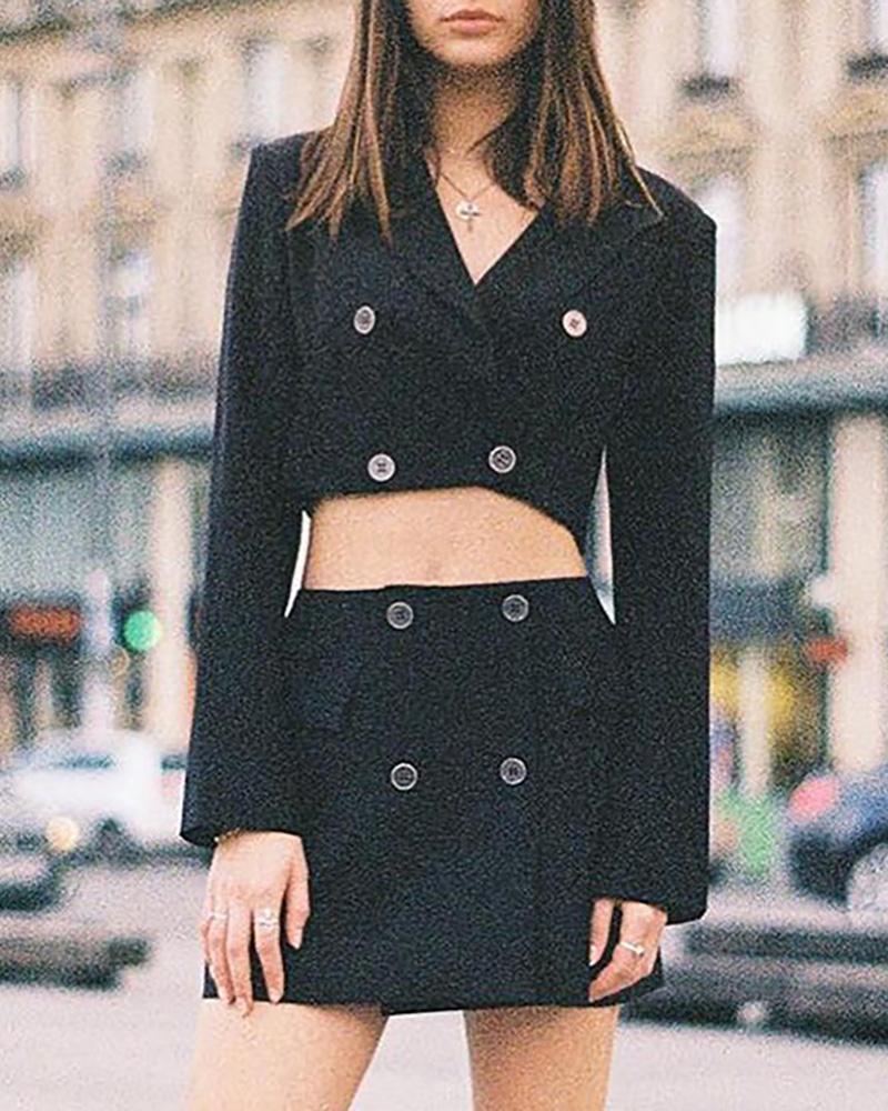 Buttoned Crop Blazer Coat & High Waist Skirt Set фото