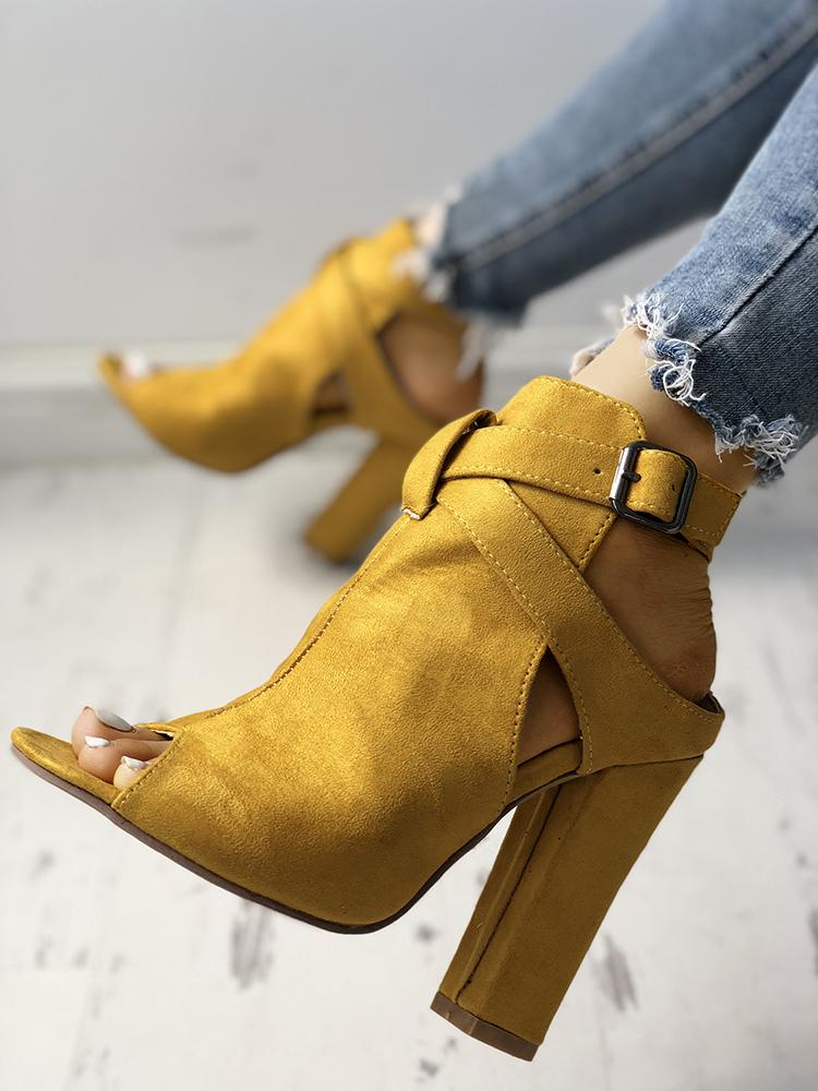 joyshoetique / Open Toe Slingback Chunky Heeled Pumps