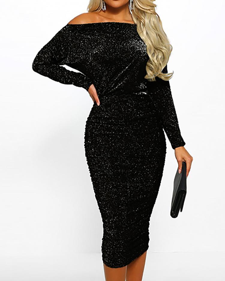 Glitter Off Shoulder Ruched Midi Dress фото