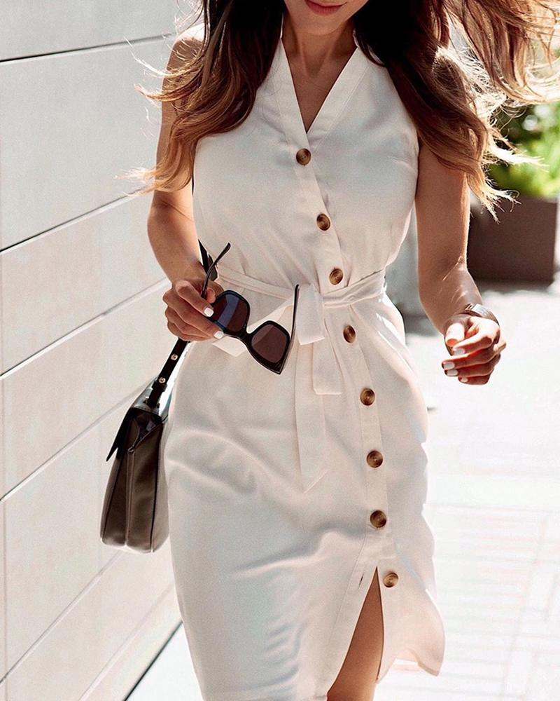 ivrose / Solid Buttoned Sleeveless Casual Dress