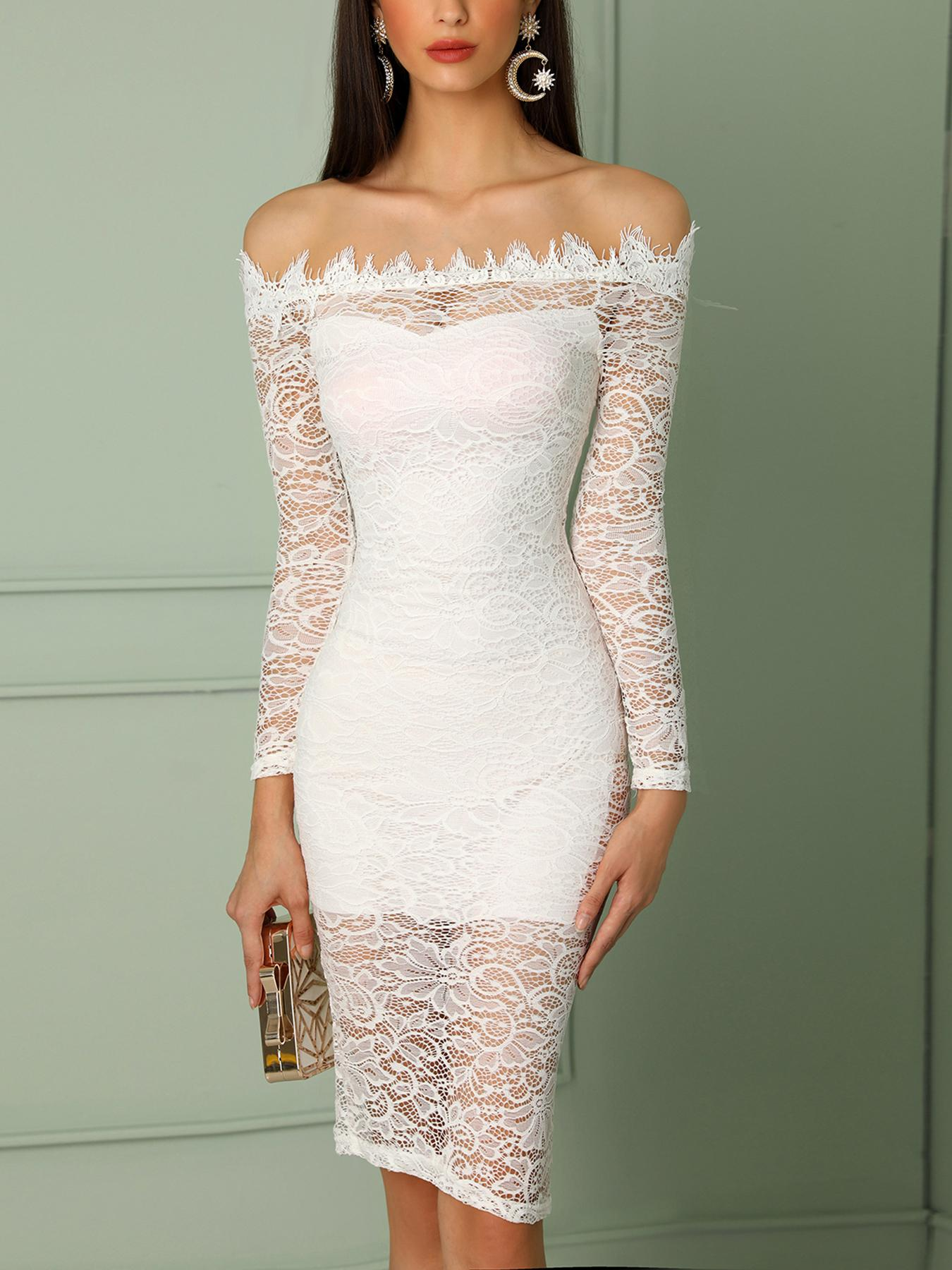 Off Shoulder Lace Eyelash Bodycon Dress фото