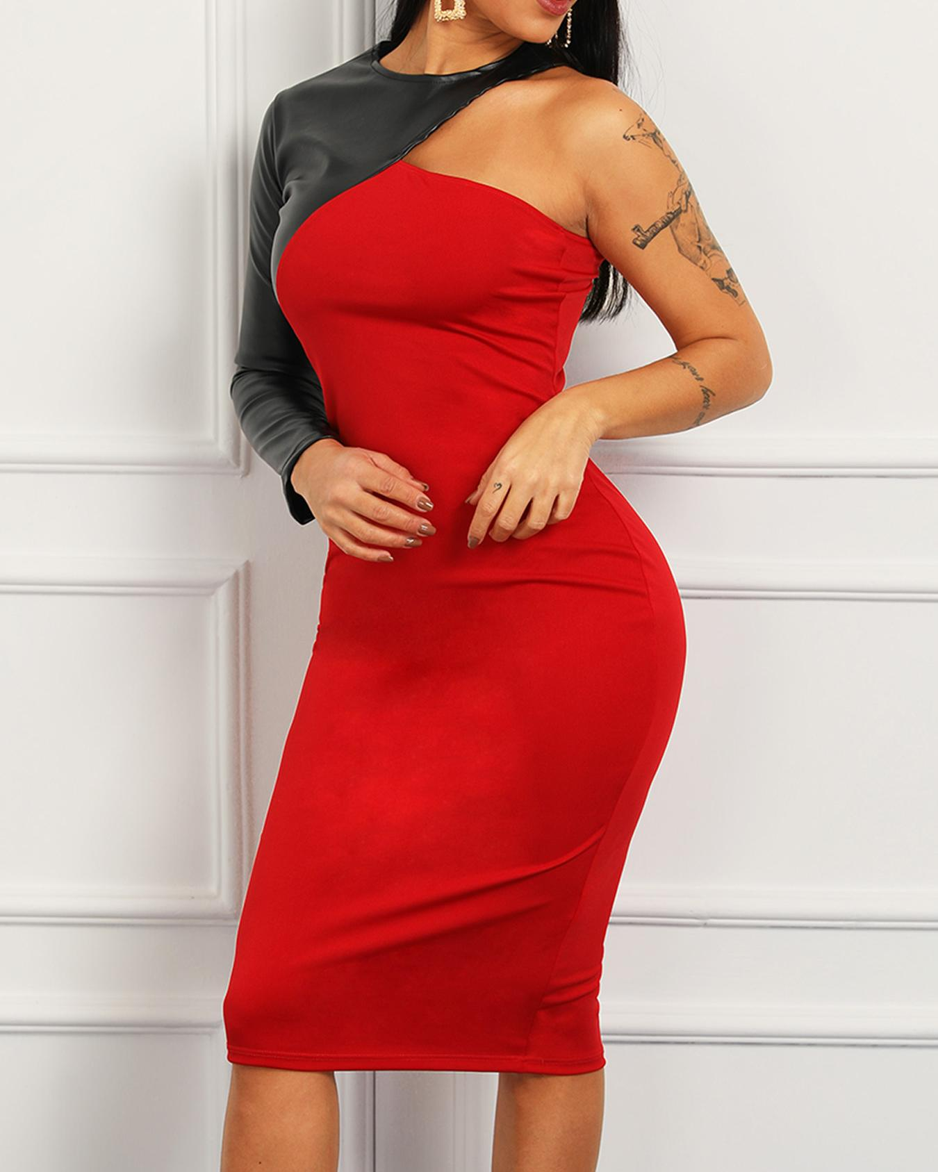 PU Splicing One Long Sleeve Party Dress