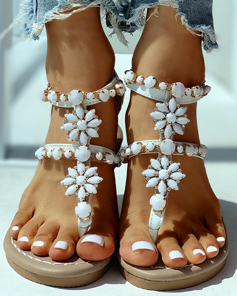 Studded Toe Post Flat Sandals фото
