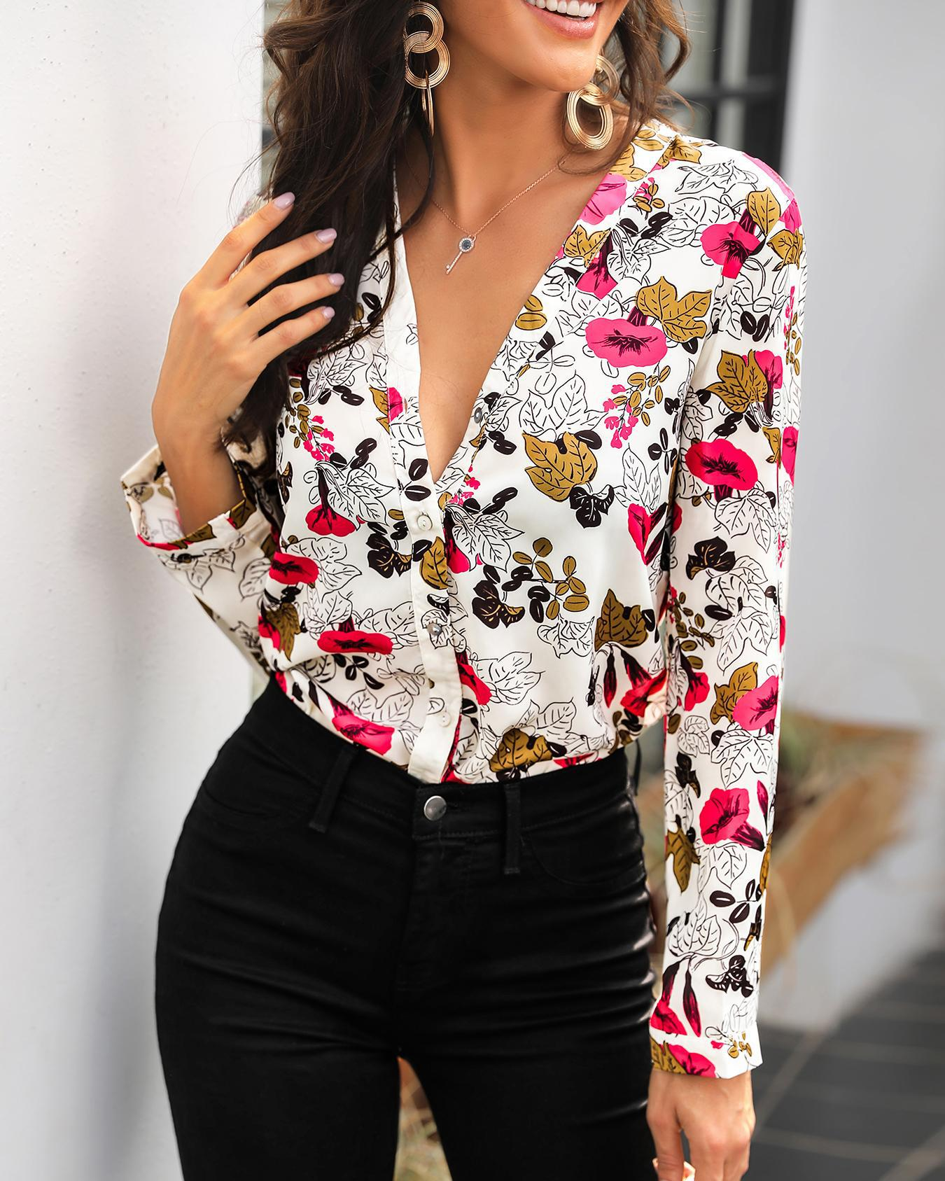 Long Sleeve Floral Print Casual Blouse