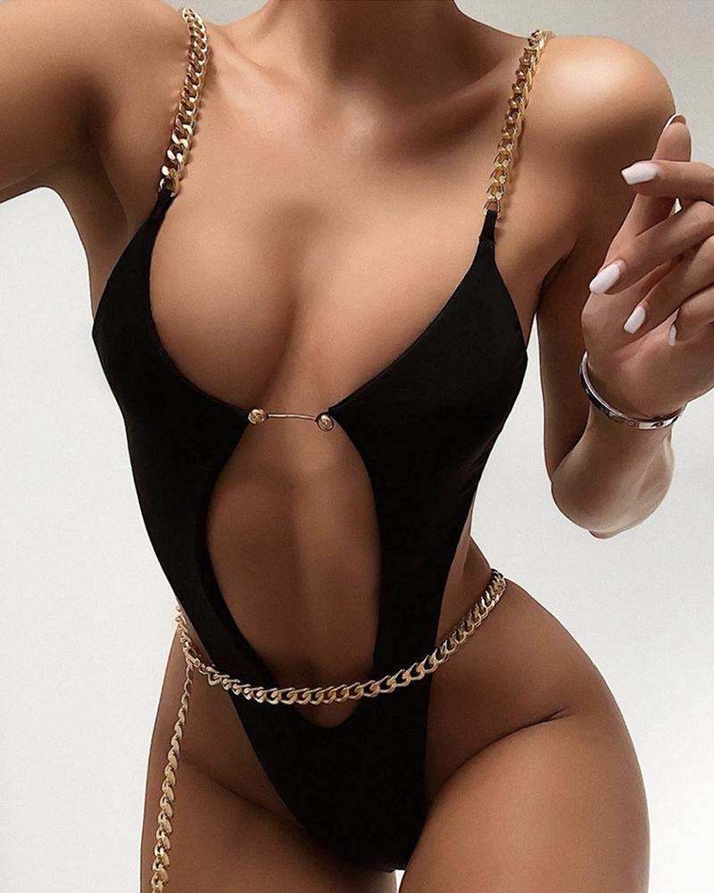 Chain Strap Cutout Backless One-Piece Swimsuit фото