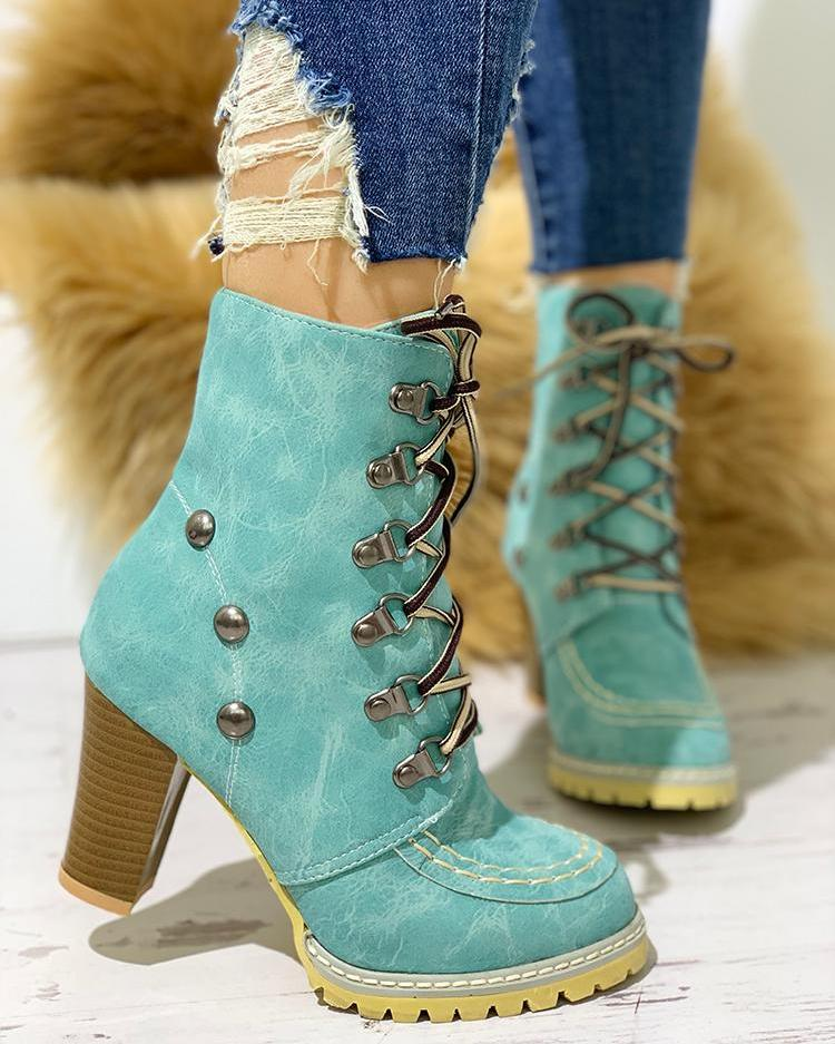 Rivet Lace-Up Eyelet Chunky Heeled Boots