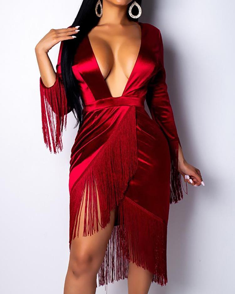 Plunge Tassel Irregular Hem Party Dress