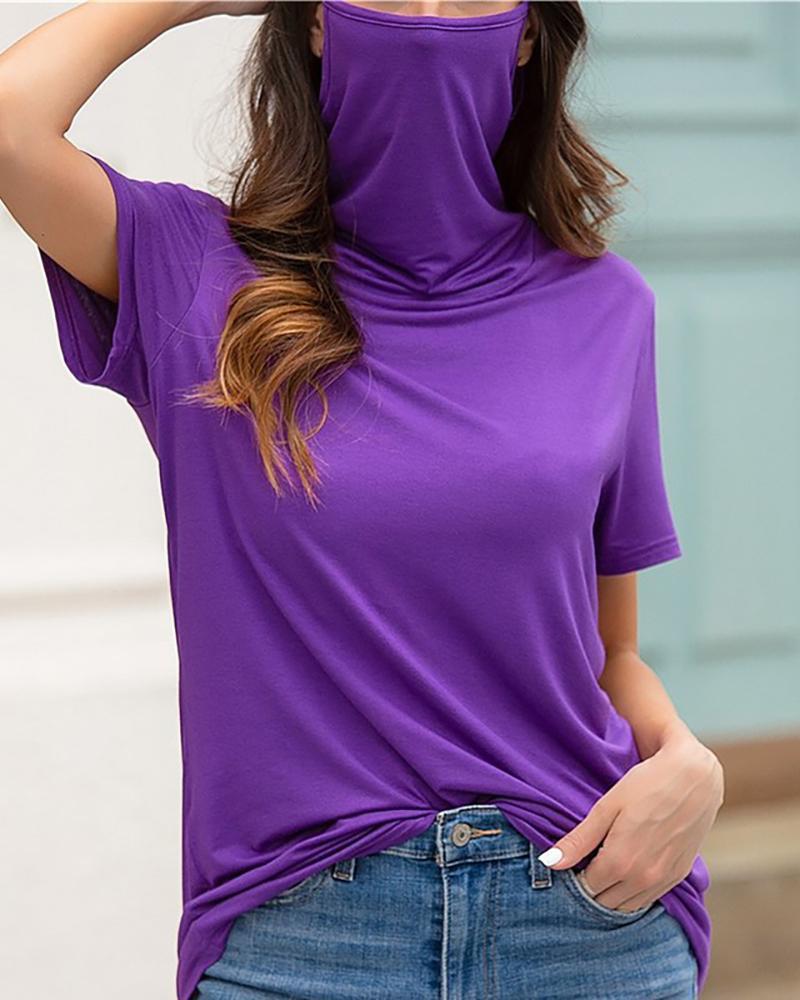 High Neck Ear Loop Casual T-shirt фото