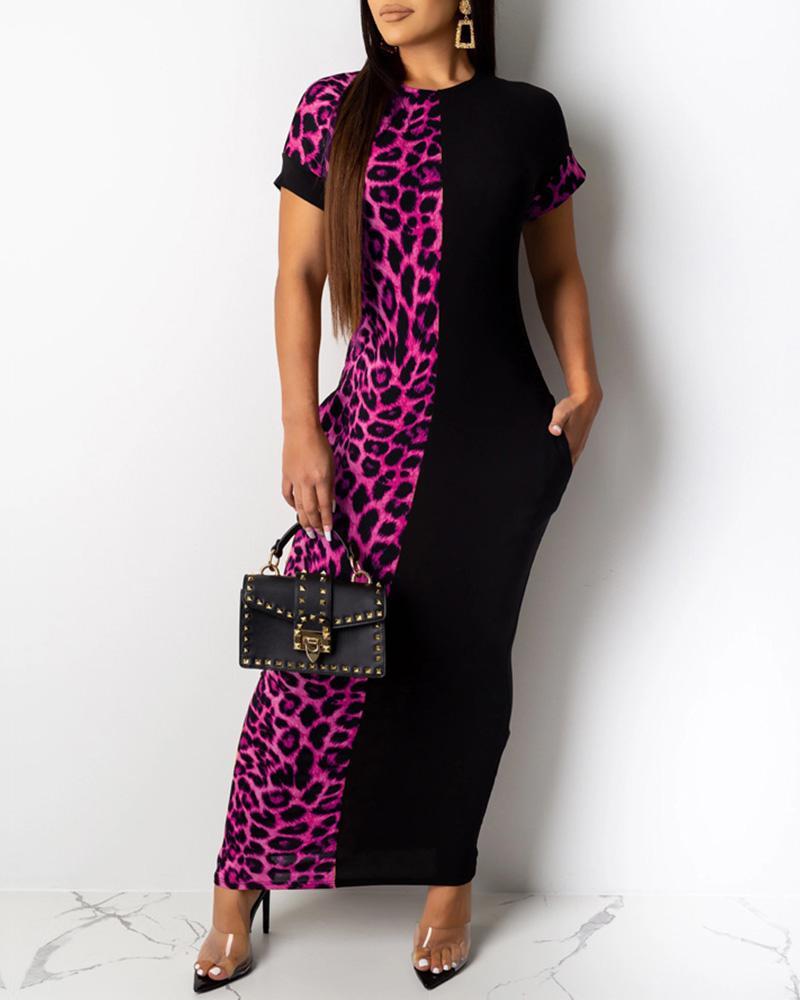 chicme / Vestido de manga corta patchwork leopardo