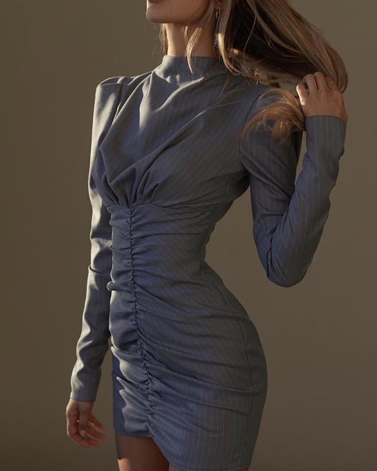 ivrose / Listras Ruched Detalhe vestido de manga comprida