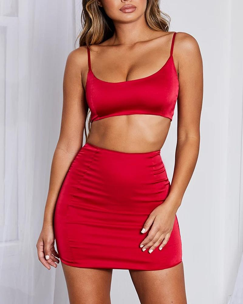 Solid Cami Top & Mini Bodycon Skirt Set, Red