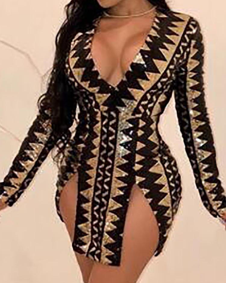 Geo Print Deep V-Neck Slit Bodycon Dress фото