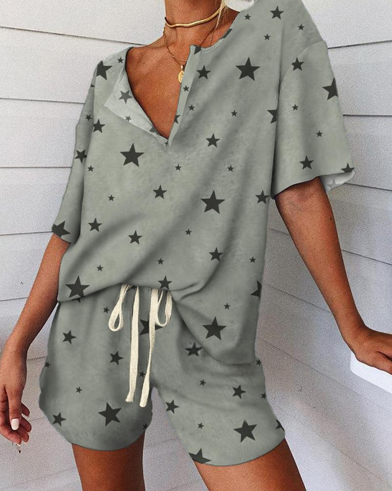 Stars Print V-neck Short Sleeve Pajamas Set фото