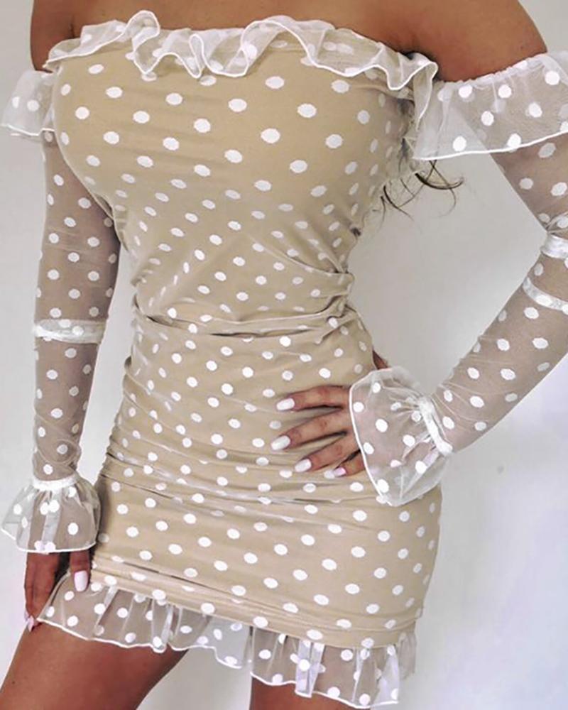 ivrose / Polka Dot Off Shoulder Frill Bell Cuff Bodycon Dress