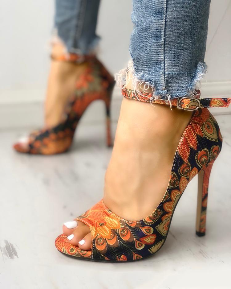 Ethnic Print Peep Toe Ankle Strap Heeled Sandals