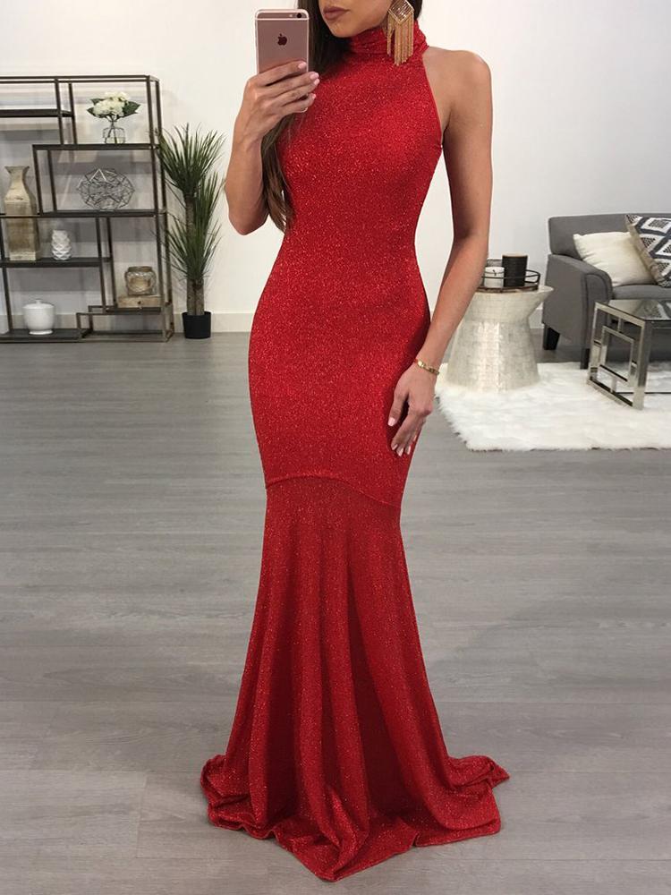 High Neck Sleeveless Maxi Gown Dress фото