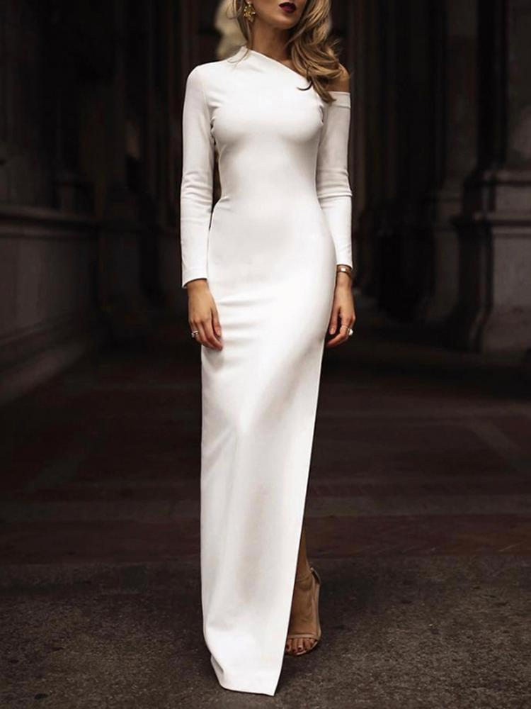 Solid One Shoulder Side Slit Bodycon Dress, White