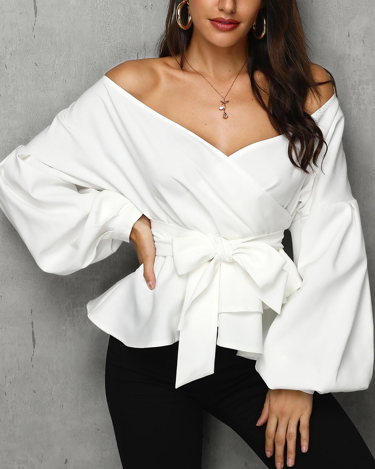 Solid Off Shoulder Knotted Ruffles Blouse
