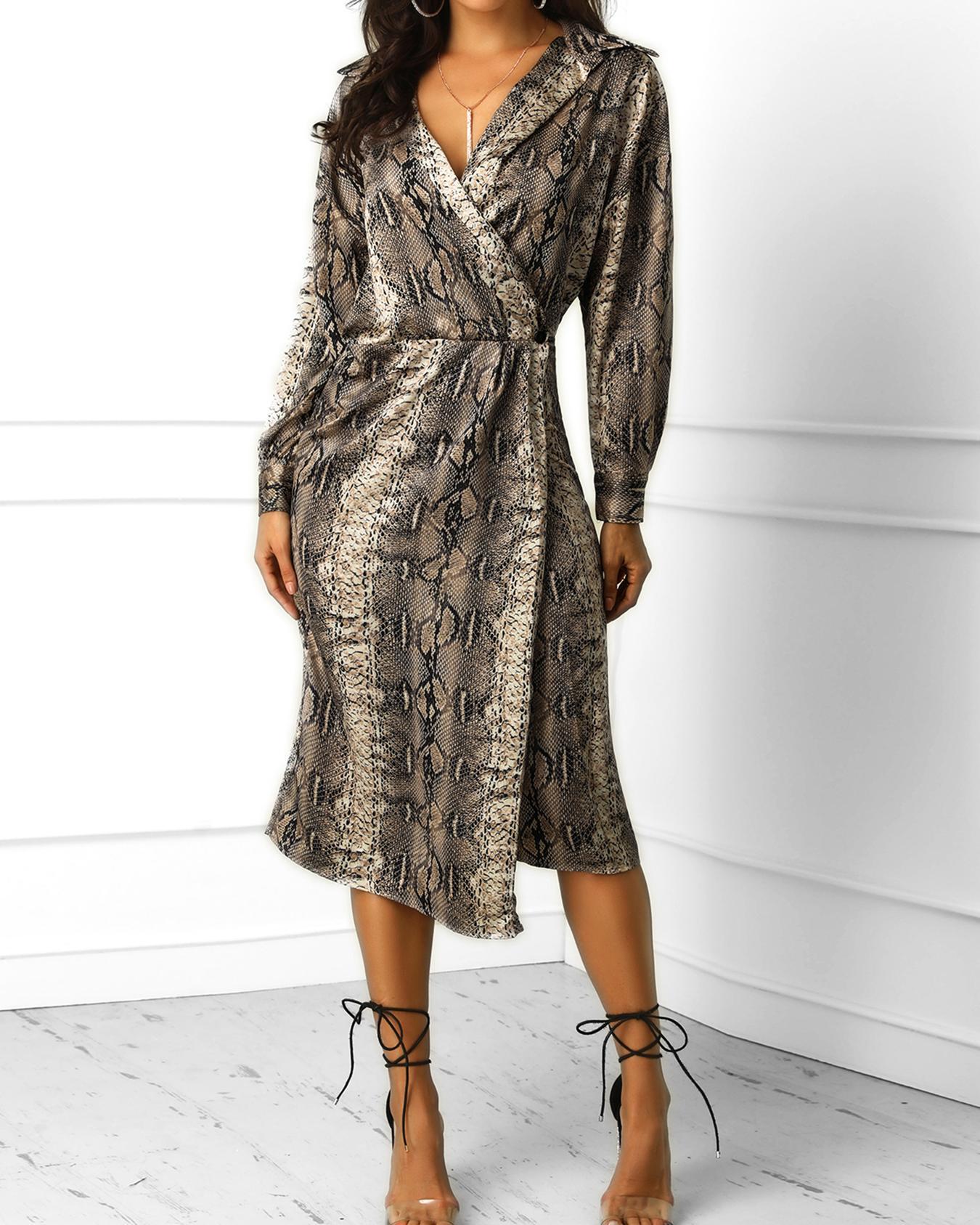 Snakeskin Print Wrap Long Sleeve Dress