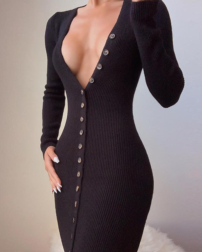ivrose / Deep V Neck Black Button-Up Dress