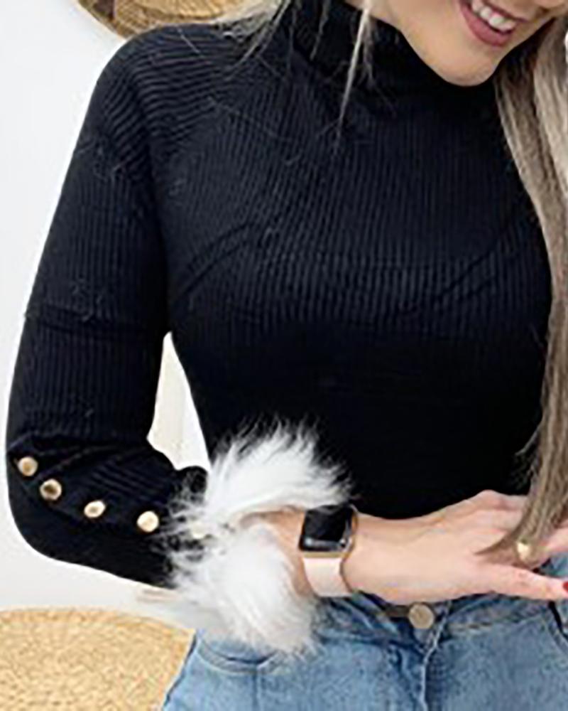 ivrose / Zipper pescoço com nervuras popper manguito blusa de inserção de pele macia
